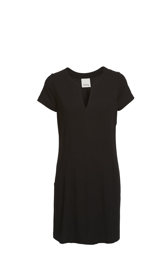 Aisha Jackie O dress, black summer dress knee long with short sleeves and v-neck, made in viscose, the front
