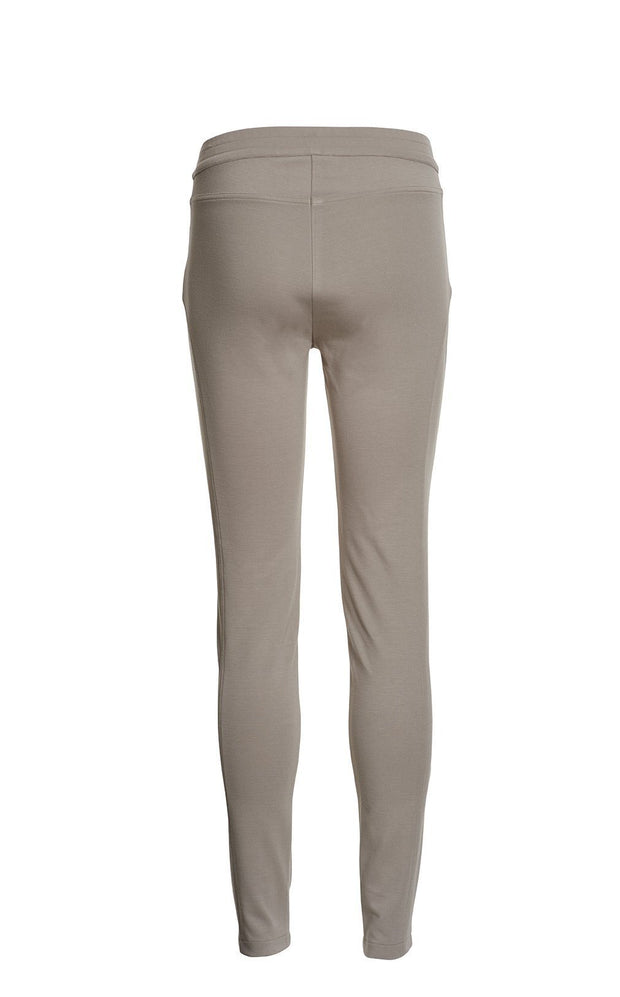 Aisha beige slim fit pants with elastic waist, made in viscose, the back