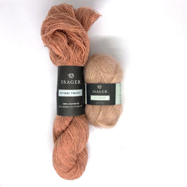 Yarn kit for Ally hat in peach color, Isager Spinni and Silk Mohair yarn