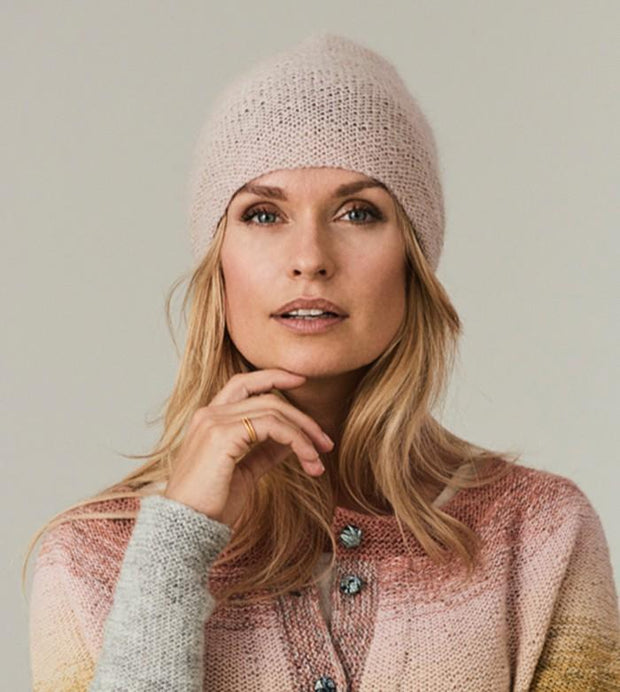 Ally knitted rose colored hat, made in soft and warm Isager Spinni wool and silk mohair