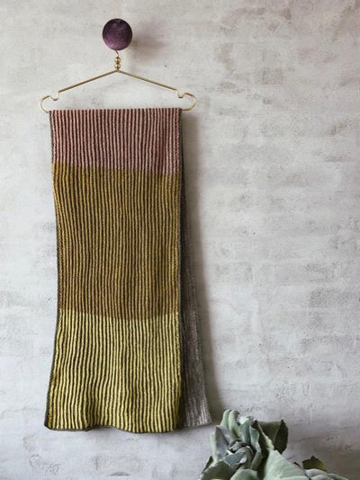 Knitting pattern for Ambidex scarf in two-colored brioche.