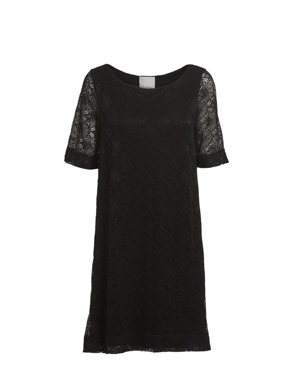 Anastasia black full lace dress, knee long with short sleeves, made of modal, the front