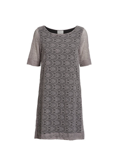 Anastasia grey rose full lace dress, knee long with short sleeves, made of modal, the front
