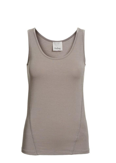 Anastasia plain beige tank top, made of modal, the front