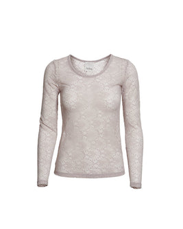 Anastasia grey rose full lace t-shirt with long sleeves, the front