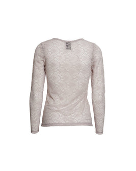 Anastasia grey rose full lace t-shirt with long sleeves, the back
