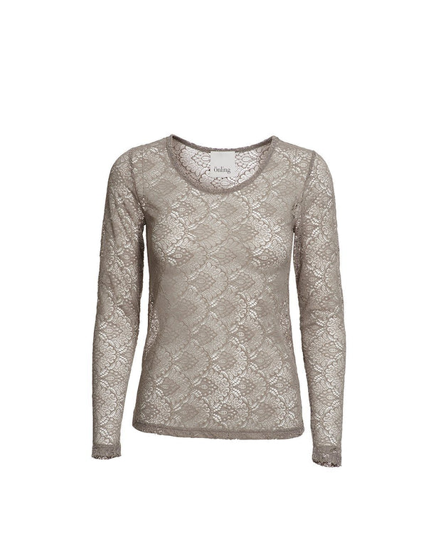 Anastasia mushroom/beige full lace t-shirt with long sleeves, the front