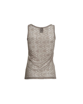 Anastasia mushroom/beige tank top in full lace, the front