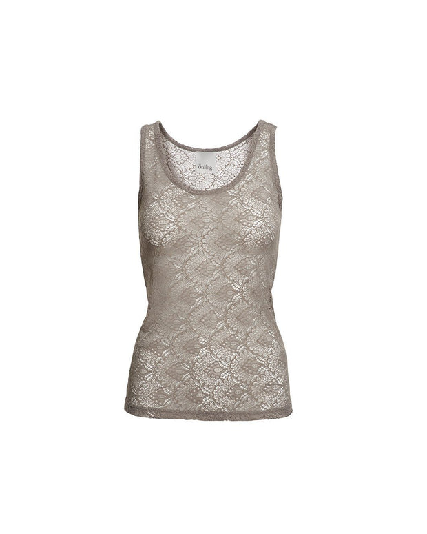 Anastasia mushroom/beige tank top in full lace, the back