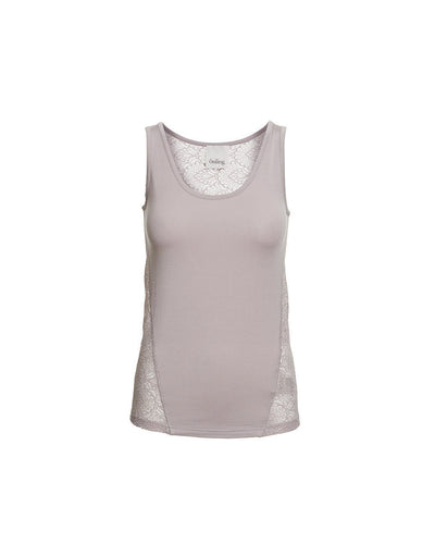 Anastasia grey rose tank top with lace on the back, made in modal, the front