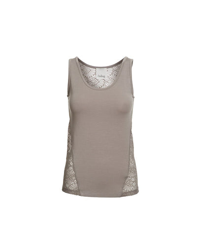 Anastasia mushroom/beige tank top with lace on the back, made in modal, the front