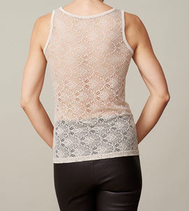 Anastasia silver grey/beige tank top with lace on the back, made in modal, the back