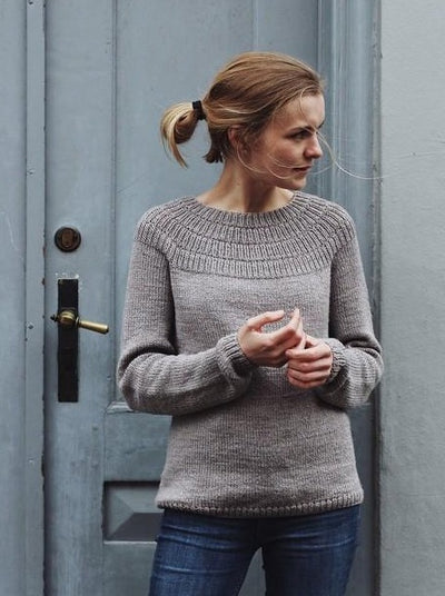 Anker's sweater - My size, designed by PetiteKnit, light grey knitted sweater