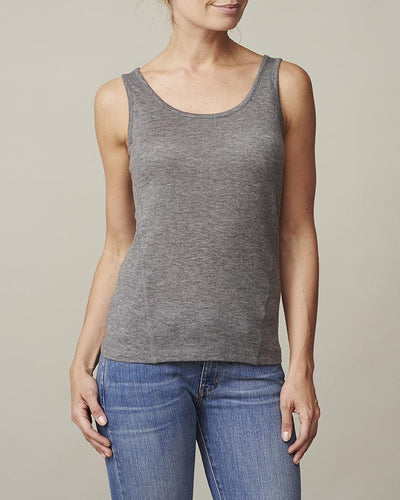 Anna plain grey tank top, made in thin and light wool and cashmere, the front