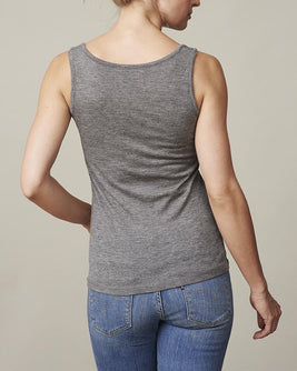 Anna plain grey tank top, made in thin and light wool and cashmere, the back
