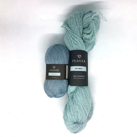 Yarn kit for Annabelle cardigan in light blue colors, Isager Alpaca and Spinni yarn
