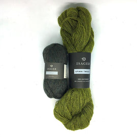 Yarn kit for Annabelle cardigan in green colors, Isager Alpaca and Spinni yarn