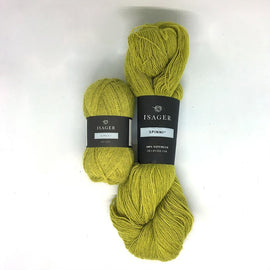 Yarn kit for Annabelle cardigan in yellow colors, Isager Alpaca and Spinni yarn