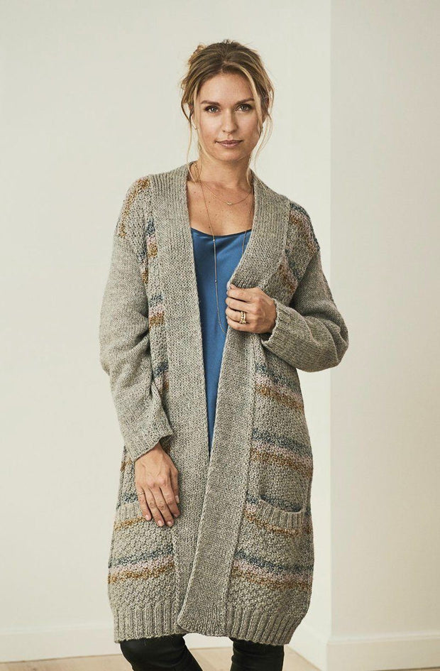 Anouska open and long knitted cardigan, grey with stripes in blue, rose and curry, made in Isager Alpaca and Highland wool, the front