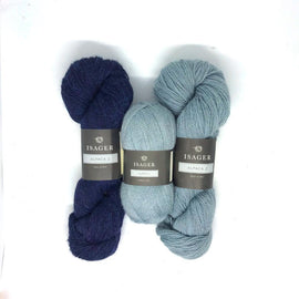 Yarn kit for Asta in blue colors, Isager Alapaca yarn