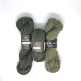 Yarn kit for Asta in green colors, Isager Alapaca yarn