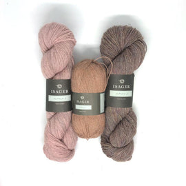Yarn kit for Asta in rose and beige colors, Isager Alapaca yarn