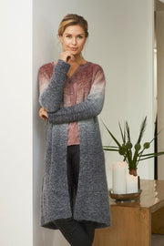 Aud long knitted cardigan with dip dye color change ranging from red at the top to dark grey at the bottom, made in Isager Spinni, the front