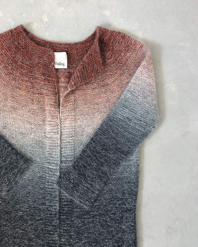Aud cardigan with red-grey dip dye, knit in Isager Spinni and Silk Mohair - Önling Nordic knitting patterns and yarn