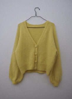 Balloon cardigan designed by PetiteKnit, yellow knittted cardigan