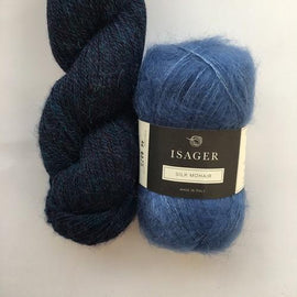 Yarn kit with Alpaca 2 and Silk Mohair both from Isager Yarn, Dark blue and Blue