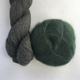 Yarn kit with Alpaca 2 from Isager yarn and Silk Mohair (Brushed Lace from Mohair by Canard), dark green