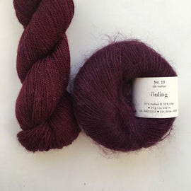 Yarn kit with Alpaca 2 from Isager yarn and Silk Mohair (Önling No 10), both wine