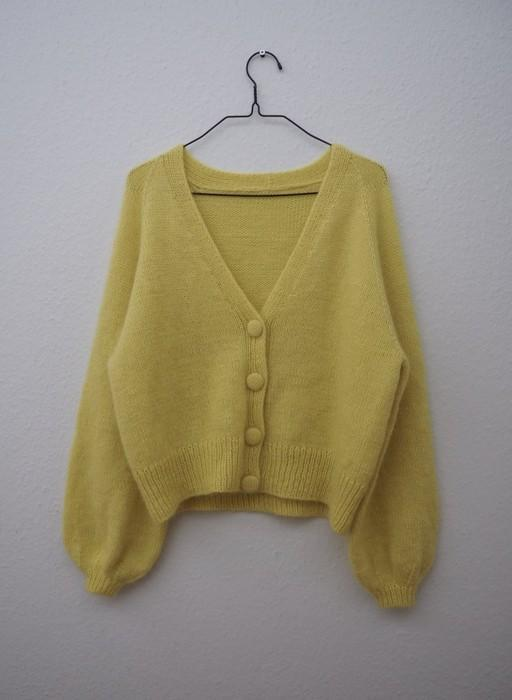 Balloon cardigan designed by Petiteknit, yellow knitted sweater