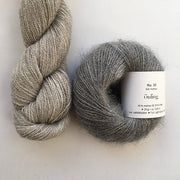 Yarn kit with Alpaca 2 from Isager yarn and Silk Mohair (Önling No 10), beige and light grey