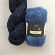Yarn kit with Alpaca 2 and Silk Mohair both from Isager Yarn, Blue