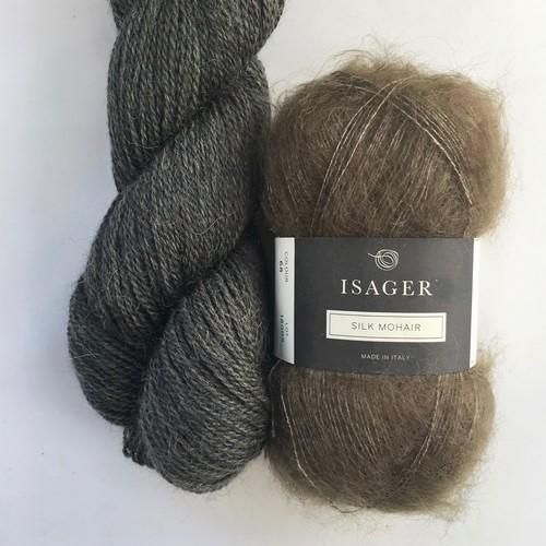 Yarn kit with Alpaca 2 and Silk Mohair both from Isager Yarn, dark grey-brown and light brown