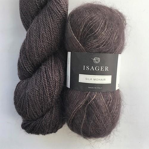 Yarn kit with Alpaca 2 and Silk Mohair both from Isager Yarn, shale or dark purple