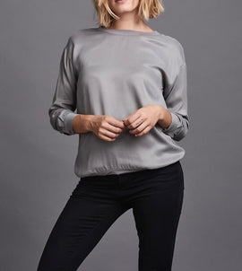Belina zink grey luxury sweatshirt, made in cupro, the front