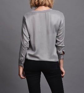 Belina zink grey luxury sweatshirt, made in cupro, the back