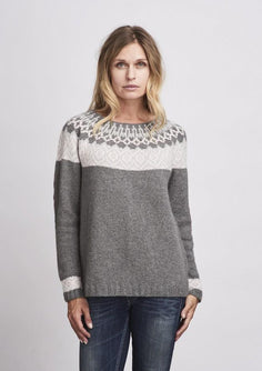 Björk icelandic inspired sweater, knitted in Önling No 2, 100% merino wool, grey and rose.