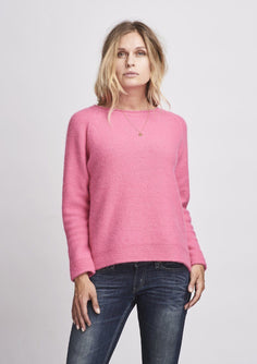 Caroline classic raglan sweater in pink, made in Önling no 1 merino wool, the back