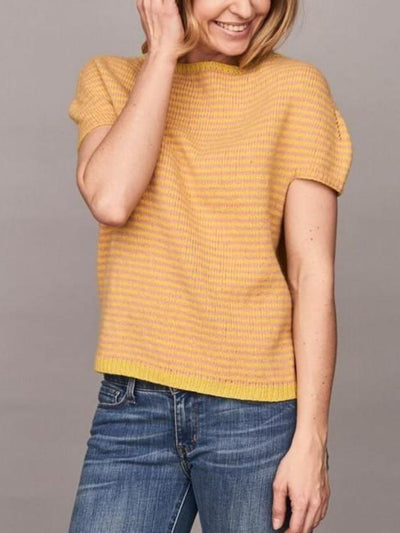 Cassandra top with stripes, knitted in Önling no 2 merinowool, rose and yellow