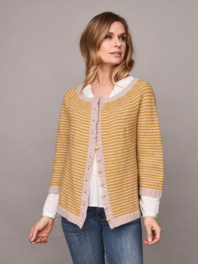 Charlie cardigan, classic striped cardigan knitted in Önling no 2 merino wool, rose and yellow