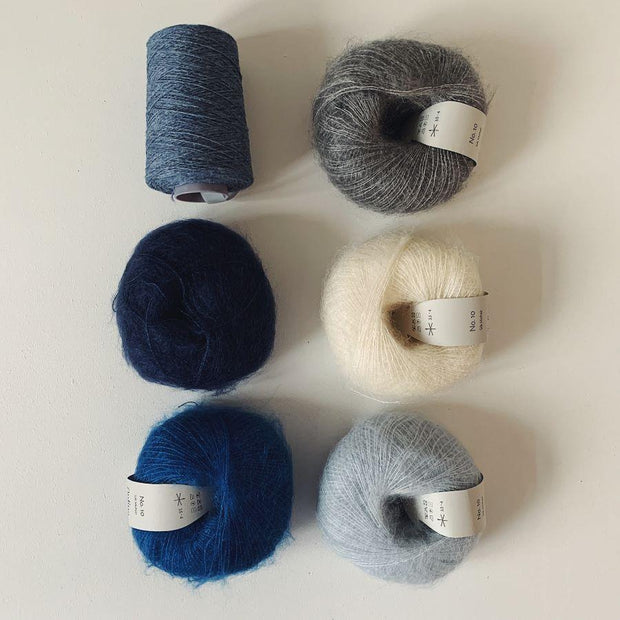 Chloé sweater, No 12 + silk mohair kit Knitting kits Önling - Katrine Hannibal Blue gray XS-XL