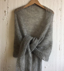 Cloud super light knitted shawl with lace pattern, made in grey Silk Mohair