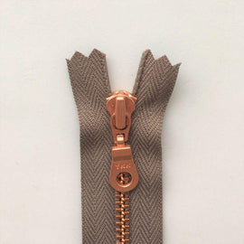Copper zipper from Önling, 50 cm, dark beige