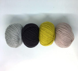 Cornelia scarf yarn kit in olive, rose, petrol and grey colors, Önling no 2 yarn