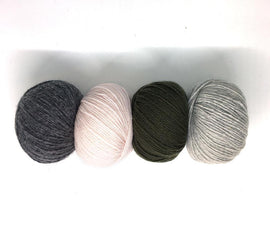 Cornelia scarf yarn kit in original pink, grey and army green colors, Önling no 2 yarn