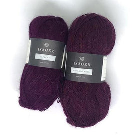 Yarn kit for Daggry hat and shawl in deep red, Isager Alpaca and Highland wool yarn.