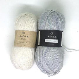 Yarn kit for Daggry hat and shawl in original white and grey, Isager Alpaca and Highland wool yarn.